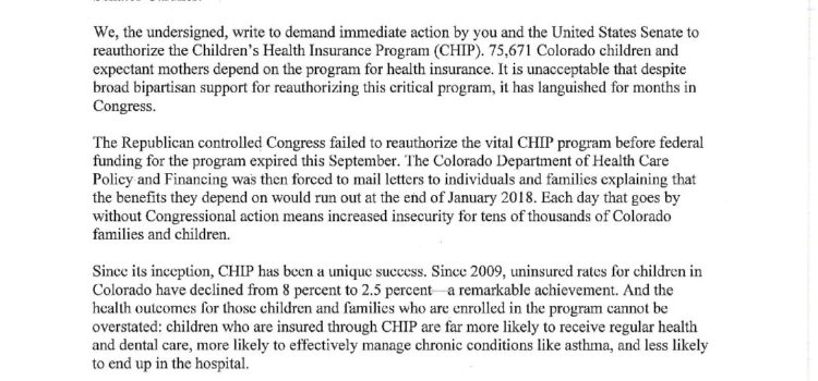 Colorado Dems Call On Gardner to Fight for CHIP Program
